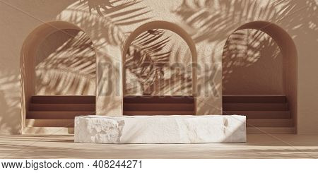 3d Stone Pedestal Podium On Beige Background With Palm Tree Leaves Shadow. Nature White Stone Podium