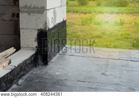 Waterproofing Flat Roof Terrace With Bitumen Roofing Material.