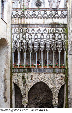 Campania, Italy - June 28, 2014: Villa Rufolo, A Building Within The Historic Center Of Ravello, A T