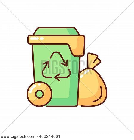 Residential Waste Collection Rgb Color Icon. Garbage Pickup From Home. Household Waste. Residential