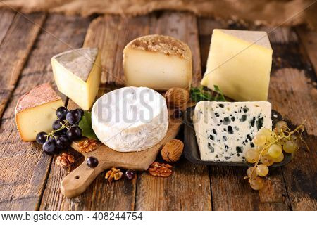 variety of cheese products on wood
