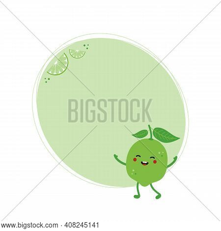 Green Oval Vector Background With Cute And Happy Cartoon Lime Character And Lime Slices For Healthy