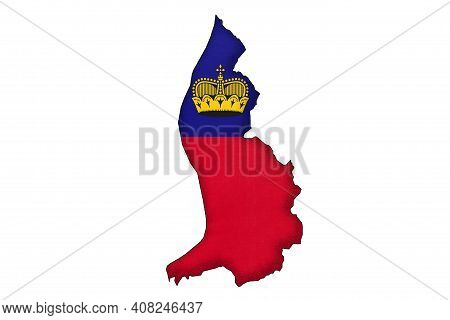 Liechtenstein Border Silhouette With National Flag Isolated On White Background With Copy Space. Con
