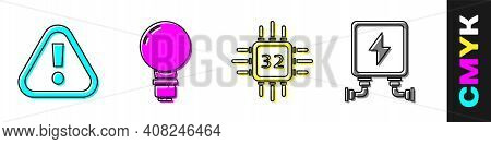 Set Exclamation Mark In Triangle, Light Bulb With Concept Of Idea, Processor With Microcircuits Cpu