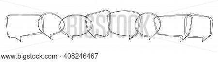 Set Of Speech Bubble In Hand Drawn Style. Blank Line Message Bubbles Icon. Communication Symbols Iso
