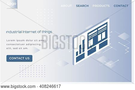 Industrial Internet Of Things Landing Page Template. Modern Information Technology And Networking. C
