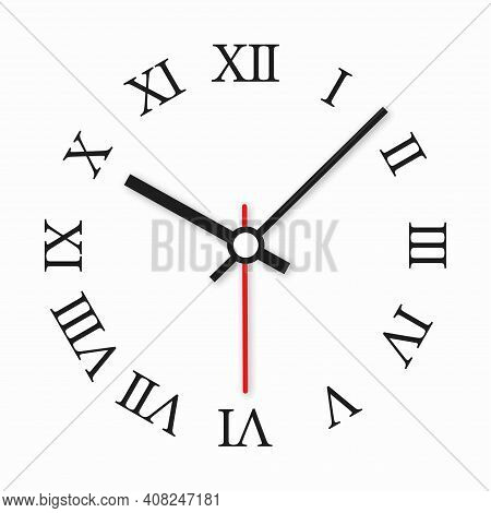 Realistick Office Clock With Roman Numerals. Wall Round Clock Watch Face Isolated On White Backgroun