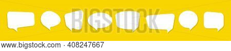Set Of Speech Bubbles. Blank Line Message Bubble Icon. Communication Symbols Isolated On Yellow Back