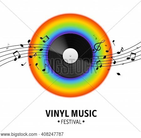 Vinyl Record. Realistic Musical Retro Disk, Vintage Singles Record, Rainbow Spectrum And Notes Wave,