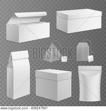 Tea Package. Realistic Paper Rectangular White Boxes And Different Tea Bags With Blank Labels, 3d Is