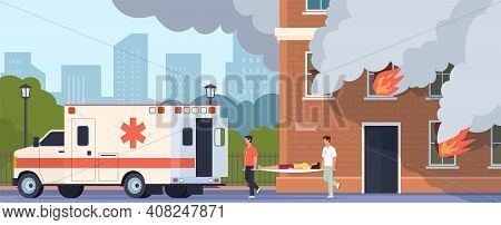 Emergency Help. Paramedics Brigade Carry Woman On Stretcher. Cartoon People Suffer From Carbon Monox