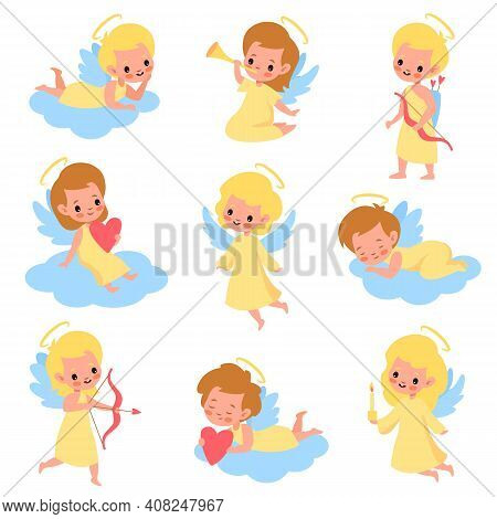 Baby Angels. Funny Kids Cupids With Wings Characters, Boys And Girls With Romantic Arrows, Trumpet A