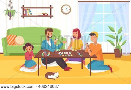 Board Game At Home. Happy Family In Room Interior Plays Card Role-playing Game, Joint Collective Hob