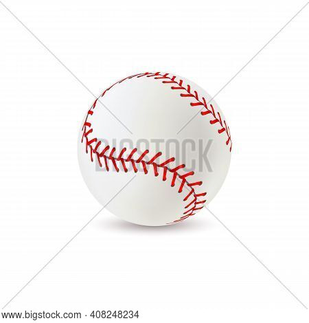 Baseball Ball. Realistic Sport Equipment For Game, White Leather With Red Lace Stitches 3d Round Sof