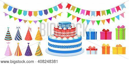 Birthday Party Decoration. Cartoon Celebration Elements, Multicolor Carnival Festive Cone, Hanging B