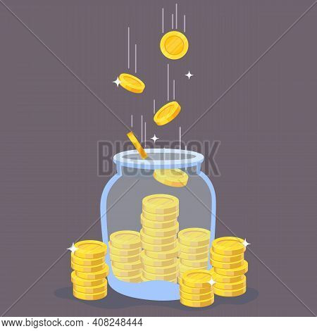 Gold Coins In Glass Jar. Transparent Bottle With Stacks And Flying Golden Coins, Banking Deposit Or