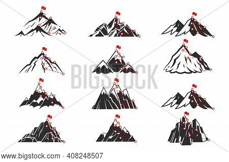 Mountain Path. Sketch Route To Mountain Peak Isolated Set. Different Mountains Shapes. Trekking Or H