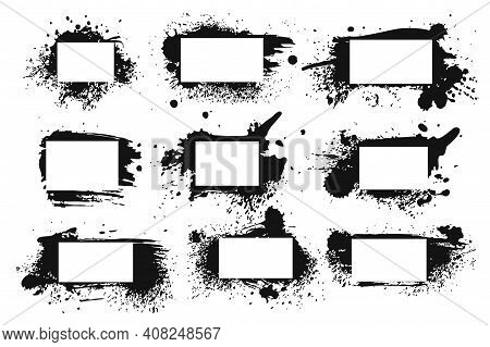 Spray Ink Frame. Grunge Inked Black Border Set, Abstract Rough Texture With Splashes And Stains Of P