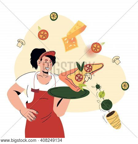 Attractive Waitress Holding A Tray With Piece Of Pizza. Pizzeria Or Italian Restaurant Waitress Surr