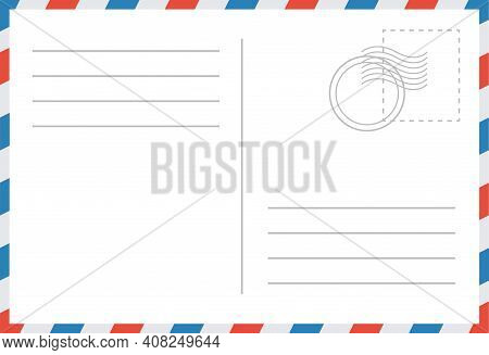 Email Envelope Vector Illustration. Post Card Retro Template. Blank Post Mockup. Vector Holiday Bord