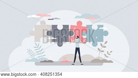 Business Solutions And Difficult Problem Solving Process Tiny Person Concept