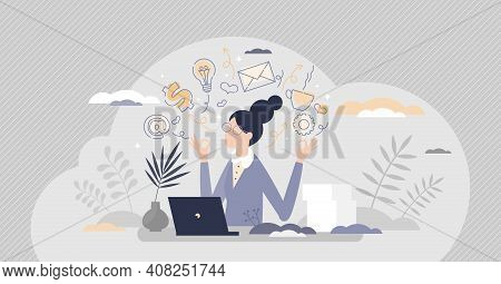 Secretary Occupation As Professional Assistant In Office Tiny Person Concept
