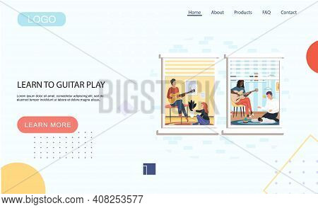 Learn To Guitar Play Landing Page Template With Young People Are Passionate About Music And Singing