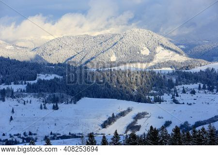 winter landscape in Ukrainian Carpathian mountains