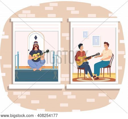 Man Plays Guitar, Learning To Play Musical Instrument People Are Fond Of Music Sing Songs. Man Hipst