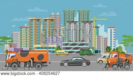 Concept Urban Cleaning Equipment, Vehicle Sweeper Wash City, Car Machine Clean Road Surface Cartoon