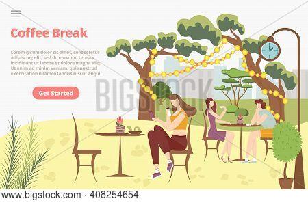 Coffee Break Morning Breakfast Concept Landing Page, Character Female Drink Tea Rest Luncheon Meetin