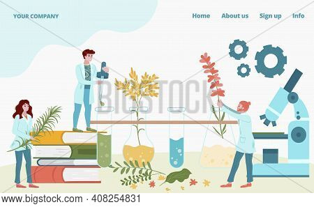 Laboratory Medication Drug From Plants Male Female Tiny Character Research Fellow Concept Landing Pa