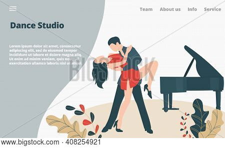 Dancer Dance Modern Style, Couple Professional Artist Performer Tango, Landing Page Concept Flat Vec
