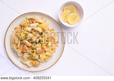 Thai Food (kuaitiao Khua Kai), Stir Fried Rice Noodles With Egg And Chicken
