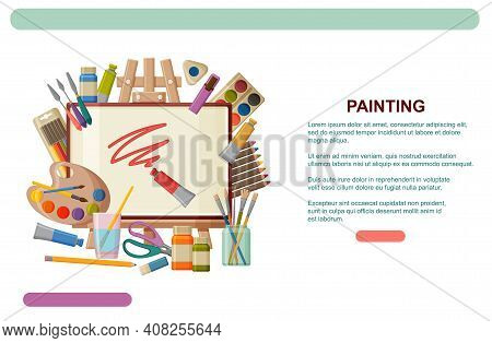 Paint Art Tools And Table Easel. Watercolor, Gouache Oil And Acrylic Paints. Painting Studio Web Ban