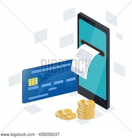 Isometric Concept Of Online Payments. Secure Mobile Transfer, 3d Smartphone, Built-in Atm, Credit Ca