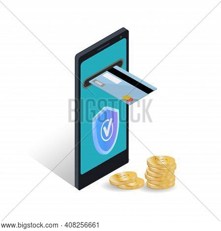 Isometric Concept Of Online Payment Protection. Secure Mobile Transfer, 3d Smartphone, Built-in Atm,