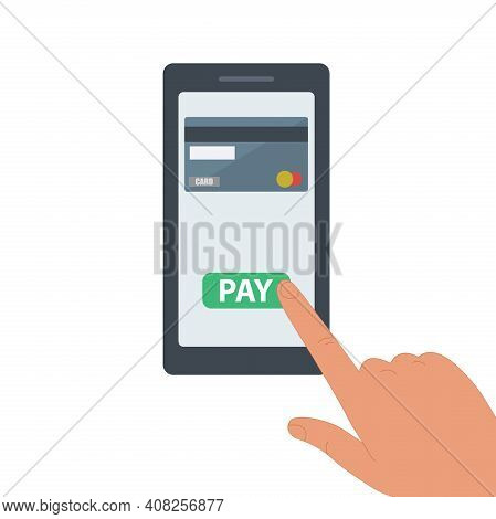 Payment By Credit Card Via An Electronic Wallet Without Wires On The Phone. A New Mobile Banking App