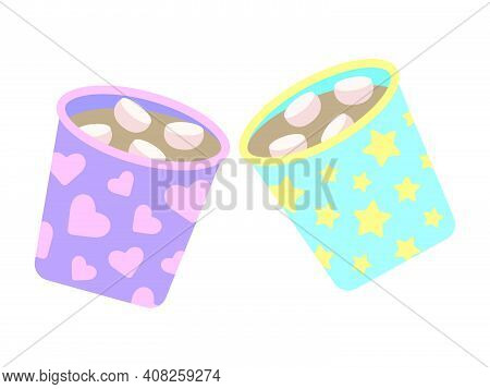 Two Cute Cheers Cups With Cocoa And Marshmallows. Children's Illustration - A Pair Of Blue And Purpl