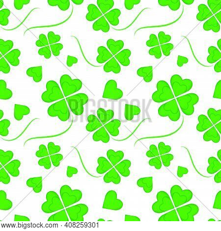 Beautiful Seamless Pattern For St. Patrick's Day. Clover Repeating Pattern, Four Heart-shaped Leaves