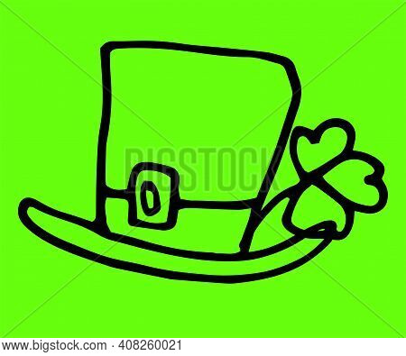Green Patrick Doodle Hat Clover In Vintage Style On White Background.vector Doodle For St. Patrick's