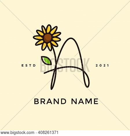 Beauty And Charming Simple Illustration Logo Design Initial A Combine With Sun Flower.
