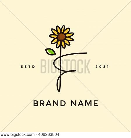 Beauty And Charming Simple Illustration Logo Design Initial F Combine With Sun Flower.