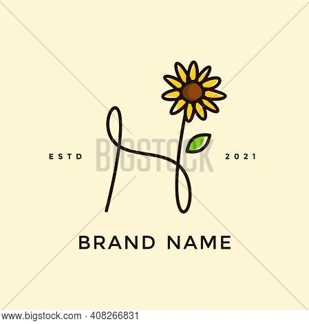 Beauty And Charming Simple Illustration Logo Design Initial H Combine With Sun Flower.