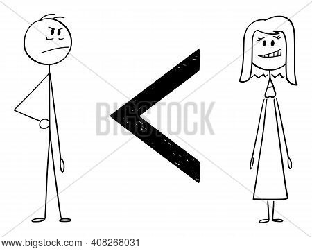 Man Is Less Than Woman, Inequality Of Sexes,  Cartoon Stick Figure Or Character Illustration.