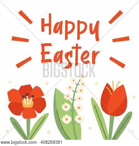 Happy Easter Illustration, Banner, Greeting Card Design. Lettering, Text. Flowers, Nature. Poppy Flo