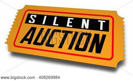 Silent Auction Ticket Special Charity Fundraising Event Admission 3d Illustration