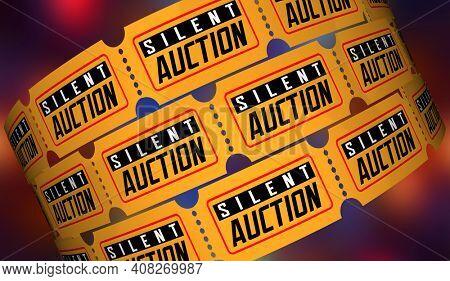 Silent Auction Tickets Win Prizes Raise Money for Charity Fund Raiser 3d Illustration