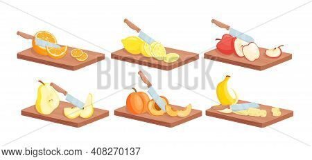 Fruit Slices Food With Knife Isometric Set, Ripe Juicy Sliced Fruits On Wooden Board
