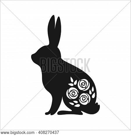 Cute Black And White Bunny Silhouette. Cute Spring Bunny With Rose Flowers. Black And White Easter R